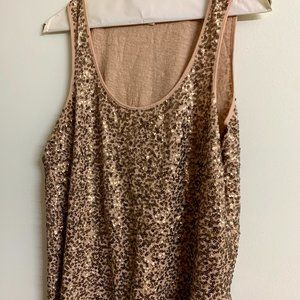 J.Crew Sequin Cotton Tank Top -- Rose Gold